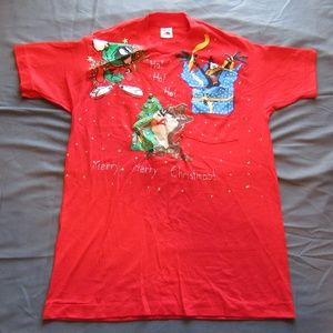 Womens Vtg Looney Tunes Christmas Bells T Shirt